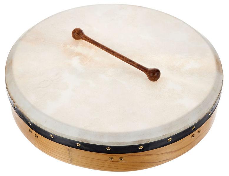 Tamburo Bodhran, tipicamente irlandese, tendenzialmente il battente del bodhran è tutto in legno
